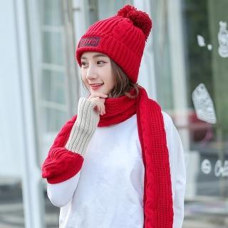 【Acorn*橡果】韓系撞色加絨毛帽+露指手套圍巾1815(兩件組-紅色)