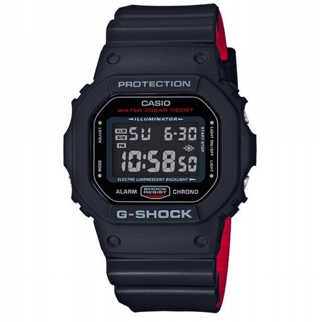 【CASIO 卡西歐】G-SHOCK 經典錶款DW-5600系列/43mm/軍事風格黑x紅(DW-5600HR-1)