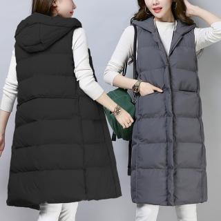【RH】時尚穿搭保暖鋪棉長版連帽背心(厚鋪棉質感背心黑灰兩色M-L-XL)