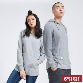 【5th STREET】中性版長版不收邊厚長袖帽T恤-麻灰色
