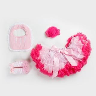 【日安朵朵】女嬰童蓬蓬裙禮盒 - 粉嫩小公主櫻花 裙+圍兜+寶寶襪(寶寶彌月滿月禮週歲生日禮物)