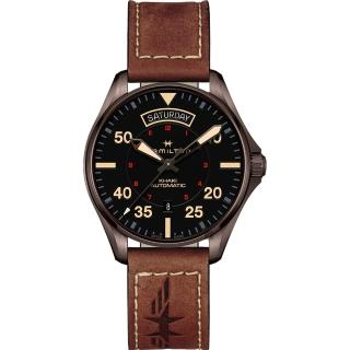 【HAMILTON 漢米爾頓】Khaki Pilot 卡其飛行員機械錶-黑x咖啡色/42mm(H64605531)