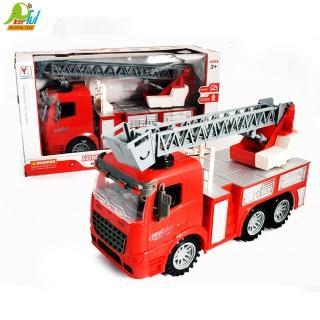【Playful Toys 頑玩具】燈光音樂消防車(聲光消防車 玩具消防車 雲梯車 兒童慣性汽車)