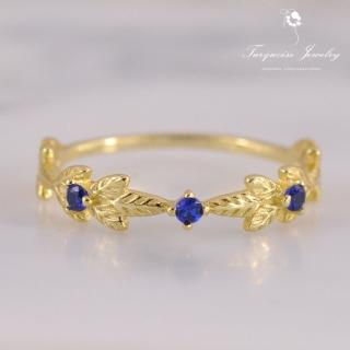 【Turquoise Jewelry】輕珠寶系列Vintage風橄欖葉藍鋯石S925銀鍍金戒指(tqst0002)