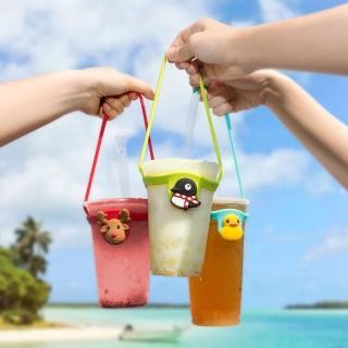 【Bone】Cup Tie 環保杯綁 飲料提袋 - 貓咪/麋鹿/鴨子/企鵝(環保矽膠飲料袋)