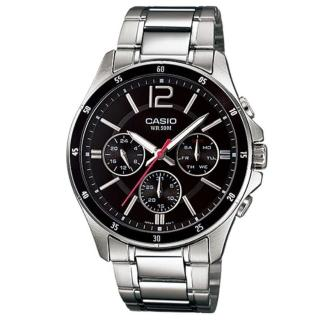 【CASIO 卡西歐】時尚三眼三針爵士腕錶(MTP-1374D-1A)