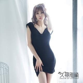 久慕雅黛 黑色性感V領優雅連身裙睡衣