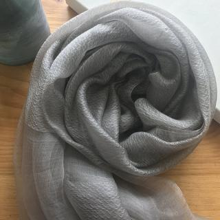 【JC Collection】蠶絲+羊毛輕盈薄透保暖舒適水波紋百搭絲巾圍巾(灰色、粉色)