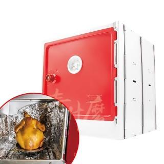 【Coleman】日本 CM-3343 摺疊烤箱/煙燻烤箱 烤爐/烤肉架/煙燻筒/不鏽鋼烤箱 附收納袋(日本原裝進口)