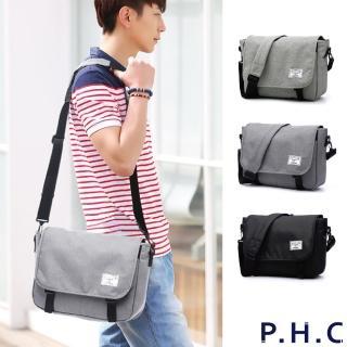 【PHC】時尚休閒商務單肩斜背包(淺灰 / 深灰 / 黑)