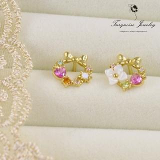 【Turquoise Jewelry】氣質森林系蝴蝶結花朵花環鋯石不對稱S925銀鍍金細緻耳環(tqsm0024)