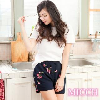 【MICCH】涼夏輕薄透氣 嫘縈棉柔 MIT休閒短褲(永恆薔薇)