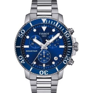 【TISSOT 天梭】Seastar 1000 海洋之星300米潛水計時錶-藍x銀/45mm(T1204171104100)