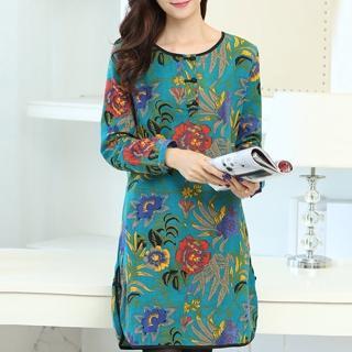 【K.W.】秋冬復古文藝民族風寬鬆棉麻印花洋裝 M-XL(共1色)