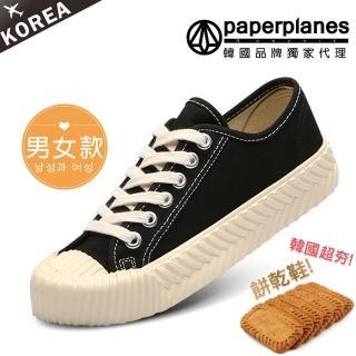 【Paperplanes】韓國空運/正常版型。男女款帆布休閒餅乾鞋(7-507黑/現貨)