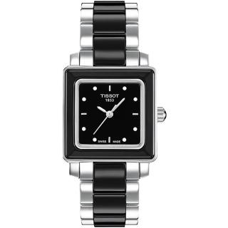 【TISSOT 天梭】T-Cera 方陶瓷系列真鑽腕錶-黑/26mm(T0643102205600)