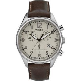 【TIMEX】天美時 Waterbury Chrono系列 三眼計時經典紳士手錶(白/咖啡 TXTW2R88200)