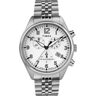 【TIMEX】天美時 Waterbury Chrono系列 三眼計時經典紳士手錶(銀 TXTW2R88500)