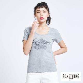 【SOMETHING】巴黎左岸街景圓領短袖T恤-女款(麻灰色)