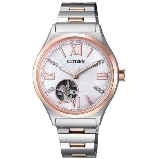 【CITIZEN 星辰】機械指針女錶 不鏽鋼錶帶 施華洛世奇水晶 藍寶石玻璃鏡面(PC1009-51D)