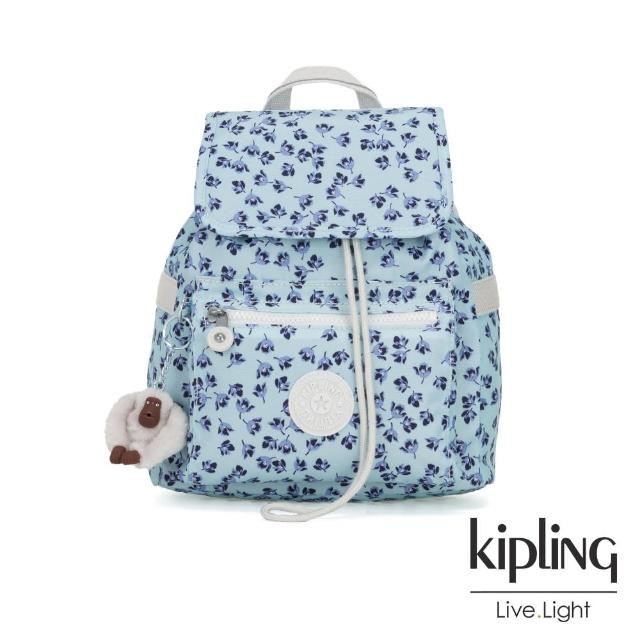 【KIPLING】典雅淡藍小花翻蓋束口後背包-NEW ELLA