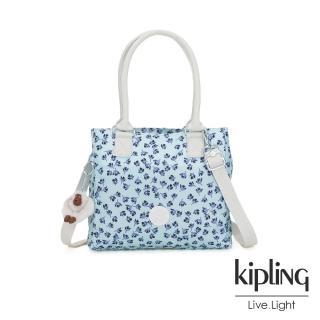【KIPLING】典雅淡藍小花肩背側背方包-ESILO