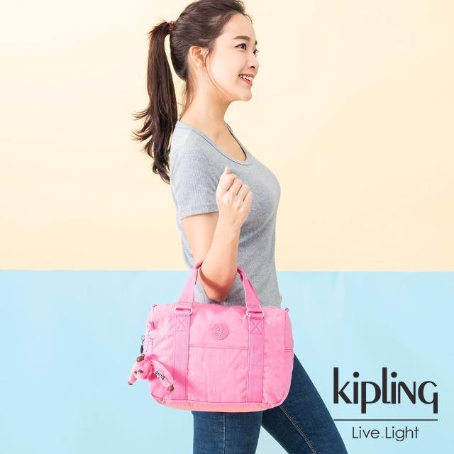 【KIPLING】甜美糖果粉手提側背包-CASKA