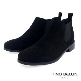 【TINO BELLINI 貝里尼】簡約質感布料低筒切爾西靴FS8502(黑)