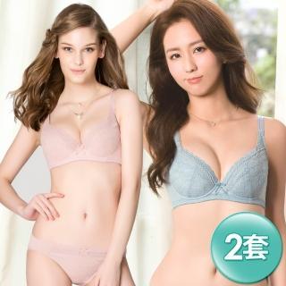 【Swear 思薇爾】舒棉BRA系列B-F罩軟鋼圈蕾絲內衣2套組(隨機出貨)