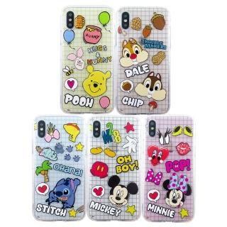 【Disney 迪士尼】iPhone X/XS繽紛格子防摔氣墊空壓保護套