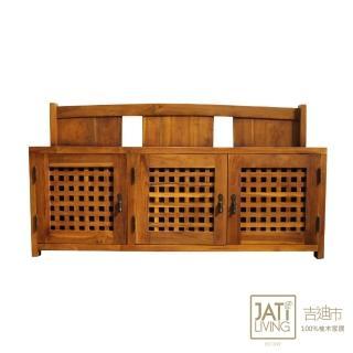 【吉迪市柚木家具】柚木三門可坐式穿鞋椅/休閒椅
