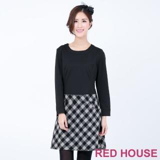 【RED HOUSE 蕾赫斯】素面拼接格子洋裝(共二色)