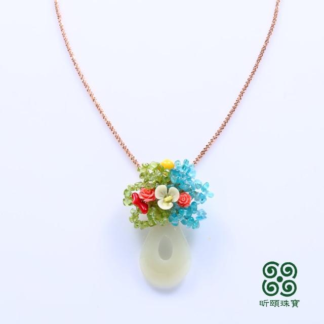 【昕頤珠寶】藍水旺財白玉彩寶墜(胸墜兩用)/