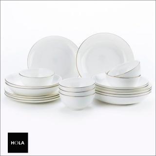 【HOLA】緻金骨瓷18件餐具組