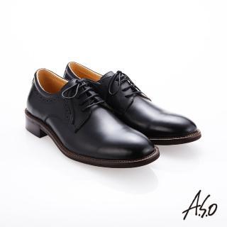 【A.S.O 阿瘦集團】職人通勤  綁帶蠟感牛皮紳士鞋(黑色)