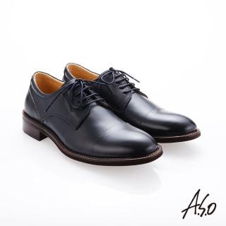 【A.S.O 阿瘦集團】職人通勤  綁帶蠟感小牛皮紳士鞋(深藍)