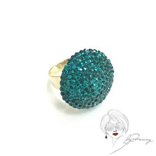 【byFanny】圓鑽戒指-藍綠(奧地利施華洛世奇水晶)
