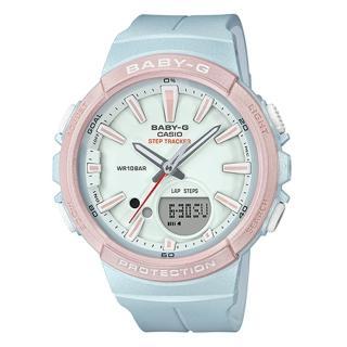 【CASIO 卡西歐】BABY G 運動雙顯女錶 橡膠錶帶 粉紅x粉藍 防水100米 計步器(BGS-100SC-2A)