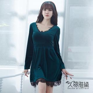 【久慕雅黛】金絲絨性感蕾絲拼接優雅睡衣(森林綠)