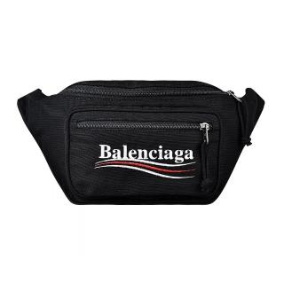 【Balenciaga 巴黎世家】BALENCIAGA巴黎世家Explorer經典刺繡LOGO尼龍拉鍊胸腰包(黑)