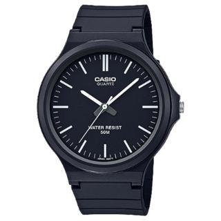 【CASIO 卡西歐】簡約指針錶 樹脂錶帶 黑 防水50米(MW-240-1E)