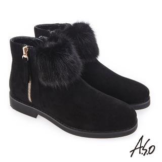 【A.S.O 阿瘦集團】夢幻主義  異材質拼接毛球裝飾靴(黑色)