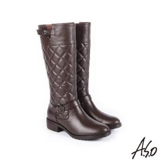 【A.S.O 阿瘦集團】經典格紋  中性風真皮時髦長靴(咖啡)