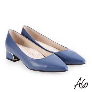 【A.S.O 阿瘦集團】低調奢華  金屬邊框尖頭低跟鞋(藍色)