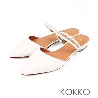 【KOKKO】春雨晨光兩穿尖頭平底穆勒鞋(輕羽白)