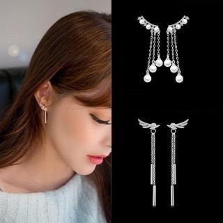 【梨花HaNA】韓系天使花葉珍珠鋯石925銀針耳環(多款選)