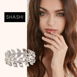 【SHASHI】SHASHI 紐約品牌 Amelia 鑲鑽葉子圓形戒指 小寬版 925純銀(925純銀)
