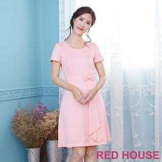 【RED HOUSE 蕾赫斯】素面點點剪接打褶洋裝(共2色)
