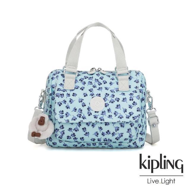 【KIPLING】典雅淡藍小花側翻蓋手提側背包-ZEVA