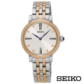 【SEIKO 精工】金燦時刻玫金石英女錶-白x34mm(SFQ816P1)